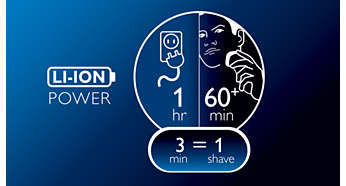 60+ shaving minutes, 1-hour charge