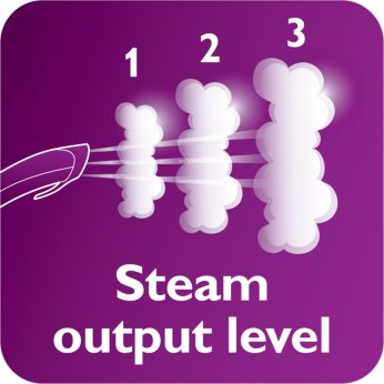 3 steam levels including ECO mode