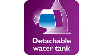 Detachable, transparent water tank with hygienic water inlet