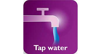 Двойная система очистки от накипи позволяет использовать водопроводную воду