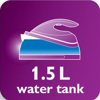 Резервуар емкостью 1,5литра для длительного глажения без необходимости долива воды