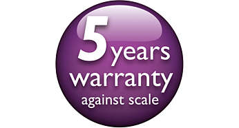 5 years of warranty against scale