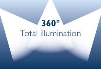 3модуля многонаправленного освещения излучают свет под любым углом