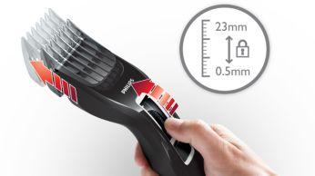 Lengva pasirinkti ir užfiksuoti 13 ilgio nustatymų: 0,5–23 mm