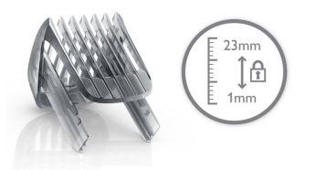 23 ayarlanabilir uzunluk seçeneği sunan sakal tarağı: 1 - 23 mm