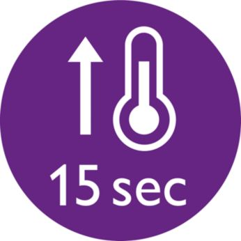 Instant heat-up time of 15secs