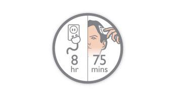 8часов зарядки — 75минут автономной работы