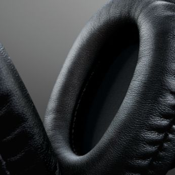 Minkštos, ant ausų užmaunamos odinės pagalvėlės, kad būtų patogų muzikos klausytis ilgai