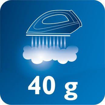 Nepertraukiamas garas iki 40 g/min. lengviau pašalina raukšles