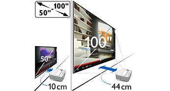 """Tamanho de ecrã flexível - de 50"""" a 100"""""""