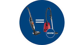 As powerful as a traditional 2000W vacuum cleaner