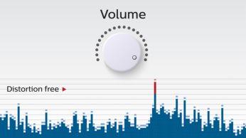 Funcţie anti-distorsiuni pentru muzică puternică, fără distorsiuni
