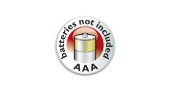 Functionare cu baterie - 2 baterii AAA nu sunt incluse