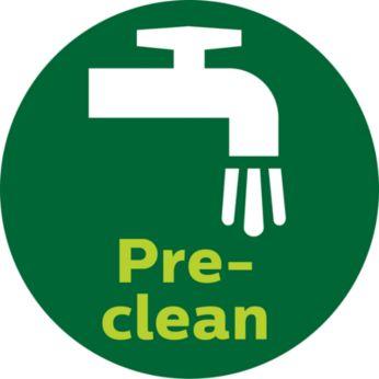 Функцията за предварително почистване изплаква нежеланите влакна