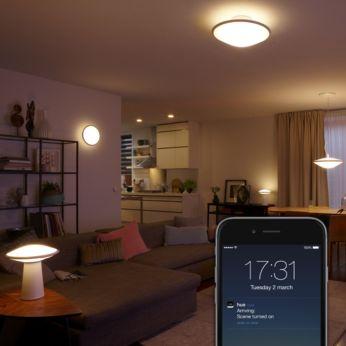 Ajusta las bombillas para que se enciendan y apaguen cuando no estás en casa