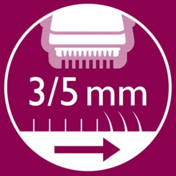 2 click-on combs included to trim hairs to 3/ 5 mm length.