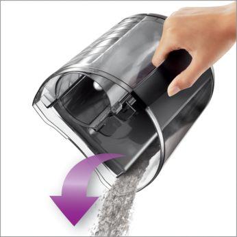 Design avansat al compartimentului pentru praf pentru o golire uşoară