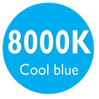 Яркий свет 8000К, холодный синий
