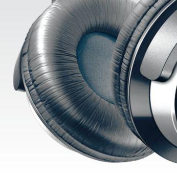 Daha uzun dinleme konforu için yumuşak 80 mm çaplı kulak tamponları