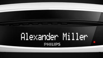 O visor secundário na base mostra o relógio e o identificador de chamadas