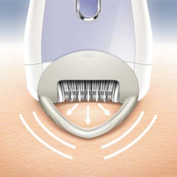 Насадка Skin Stretcher разглаживает кожу во время эпиляции