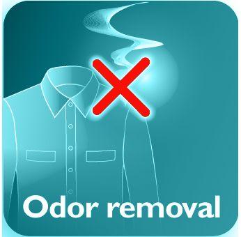 Enlève cigarettes, denrées alimentaires et les odeurs corporelles