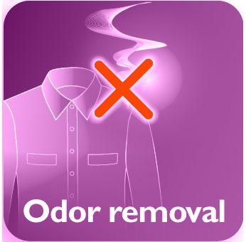 Îndepărtează mirosurile de ţigară, de mâncare şi corporale