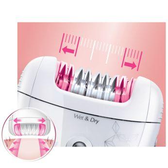 Максимально широкая головка эпилятора удаляет больше волосков за одно движение