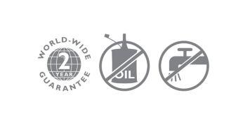 2 year world wide warranty, no oil needed