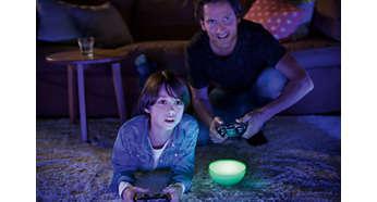 Światło, które łączy się z muzyką, telewizją i grami