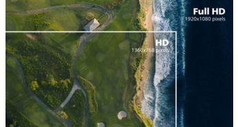 Canlı, ayrıntılı görüntüler için 16:9 Full HD ekran
