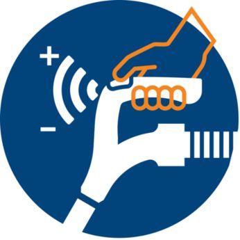 Управление мощностью на рукоятке обеспечивает удобное и быстрое использование