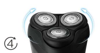 Головки двигаются в 4направлениях, повторяя все контуры для гладкого бритья