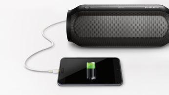 可將喇叭當成行動電源,為智慧型手機充電