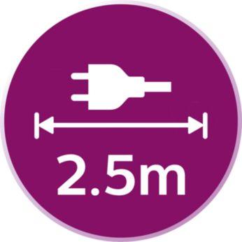 Cablu lung de 2,5 m, pentru acces excelent pe masa de călcat