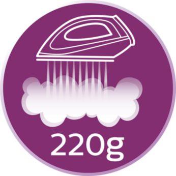 En zorlu kırışıklıkları bile gidermek için 220 g'a kadar şok buhar
