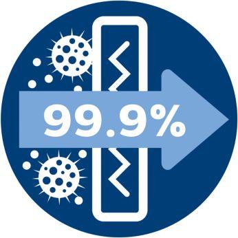 Противоаллергенный фильтр удерживает более 99,9% мелкой пыли