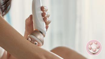 Rahatlamak ve ışıldayan bir cilt görünümü için vücut masaj başlığı