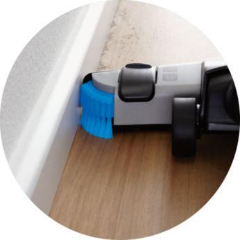 Perii laterale pentru curăţarea simultană de-a lungul pereţilor