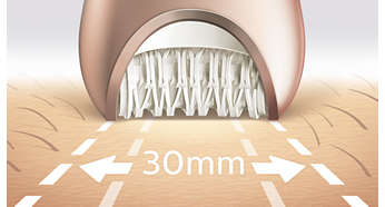 Widest epilation head for optimal hair removal in one stroke