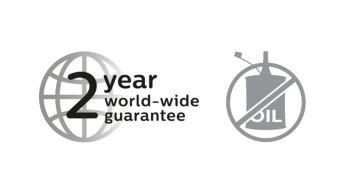 2 year guarantee, no oil needed