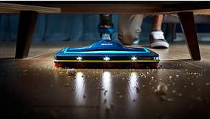 吸嘴中的 LED 灯可照亮隐蔽的灰尘和污垢