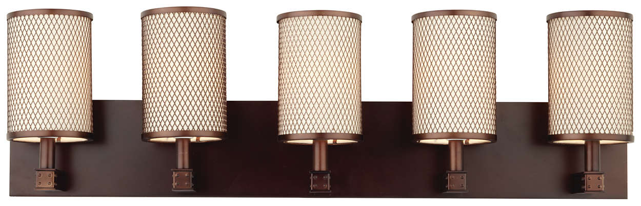 I Beam 5-light Bath in Merlot Bronze finish
