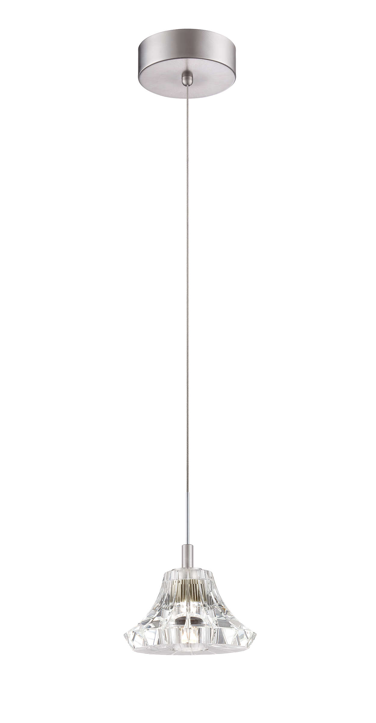 Liz 1-light LED pendant in Satin Nickel finish