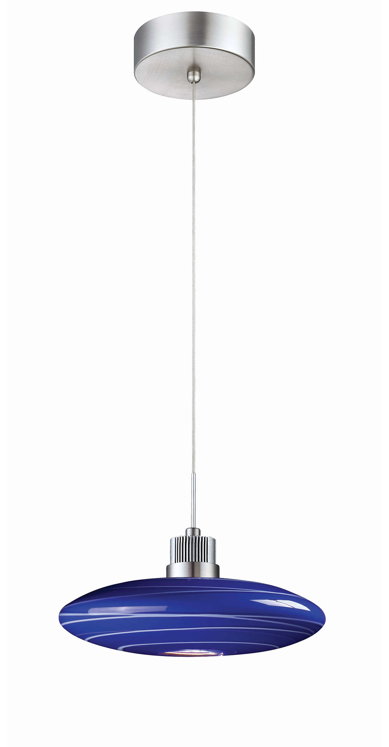 Wisp 1-light LED pendant in Satin Nickel finish
