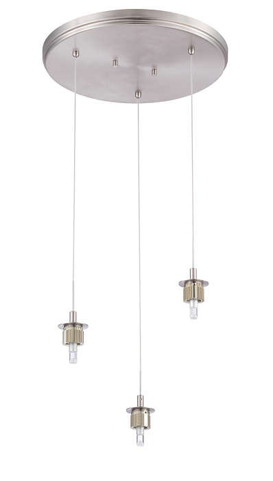 Sparkle 3-light pendant holder, Satin Nickel