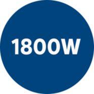 1800 watt motor genereert max. 350 watt zuigkracht.