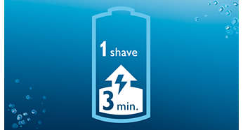 Three minute quick charge for one shave