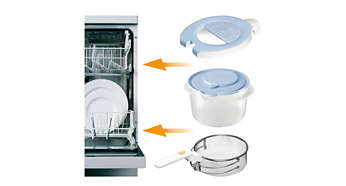 The frying basket, lid and oil container are dishwashable