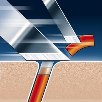 Tehnologia pentru bărbierit Super Lift & Cut cu lamă dublă